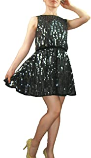 whitewed Short Juniors Beaded Sparkle Cocktail Skater Dress Holiday Parties