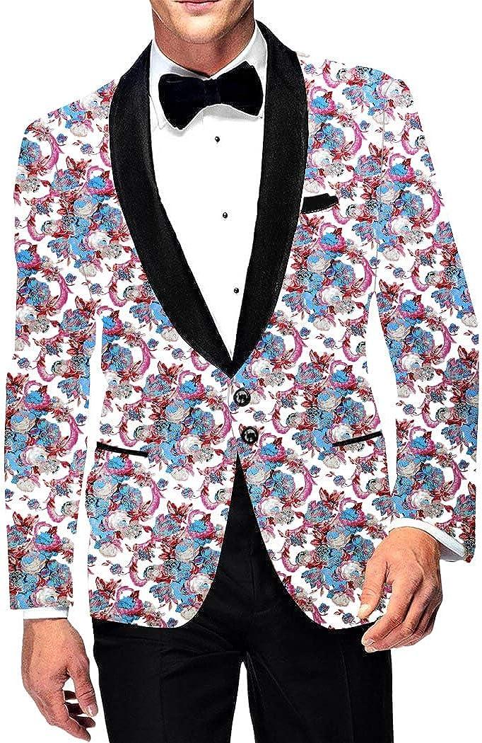INMONARCH Mens Casual Slim fit White Blazer Sport Jacket Shawl Lapel Printed Two Button Coat SB19262