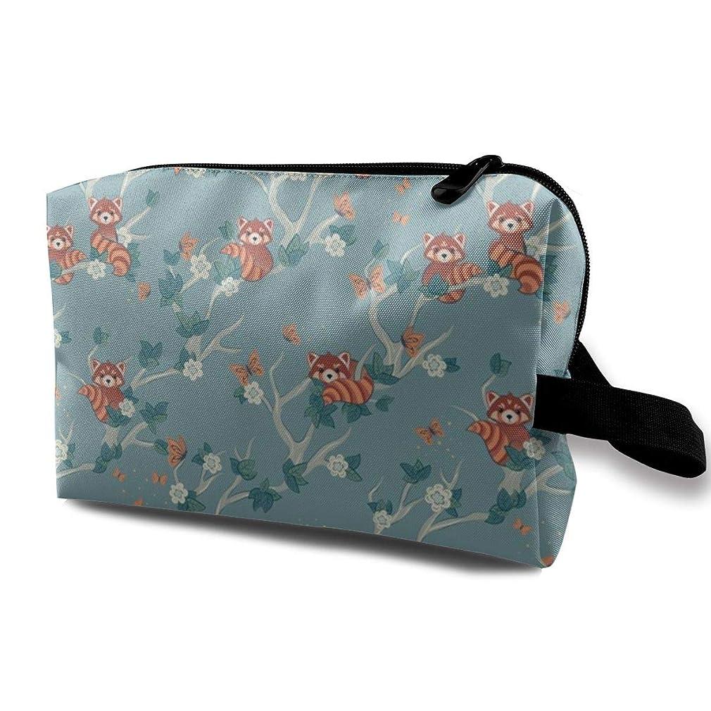 野生便利さ秘書化粧ポーチ コンパクトサイズ,赤いパンダおよび蝶Small Scale_3705のオックスフォードの布の多彩な袋の小型旅行