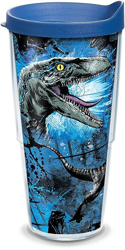 誤解事前蒸Tervis 1297841 Park-Jurassic World 2 Blue Raptor 断熱タンブラー ラップと蓋付き 24オンス 透明