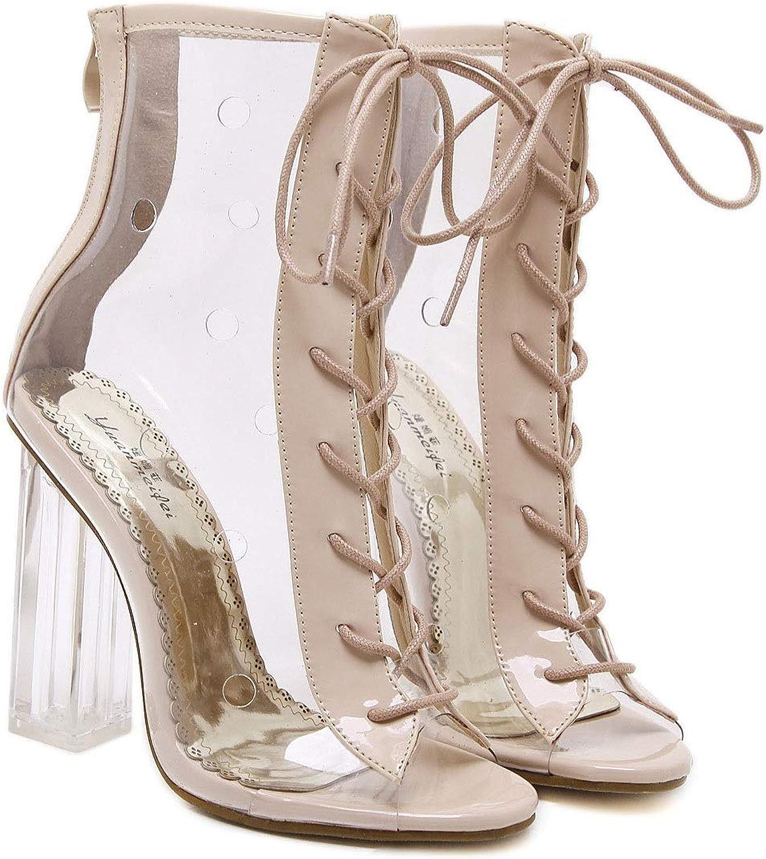 LiXiZhong Dicke Ferse Hohe Ferse Transparente Schuhe Schuhe Kreuzgurte Geschnürte Kristallschuhe Damenschuhe Coole Stiefel Einzelne Schuhe (Farbe   Khaki, Größe   36)  für den Großhandel