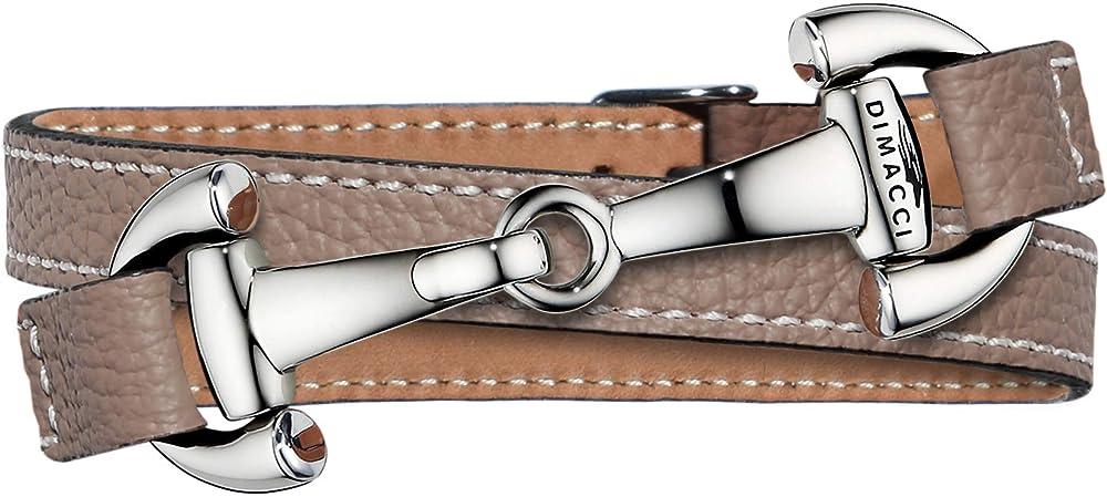 Dimacci - bracciale per donna in acciaio inox e pelle di vitello, collezione alba, color talpa 4051489101876 Gravur