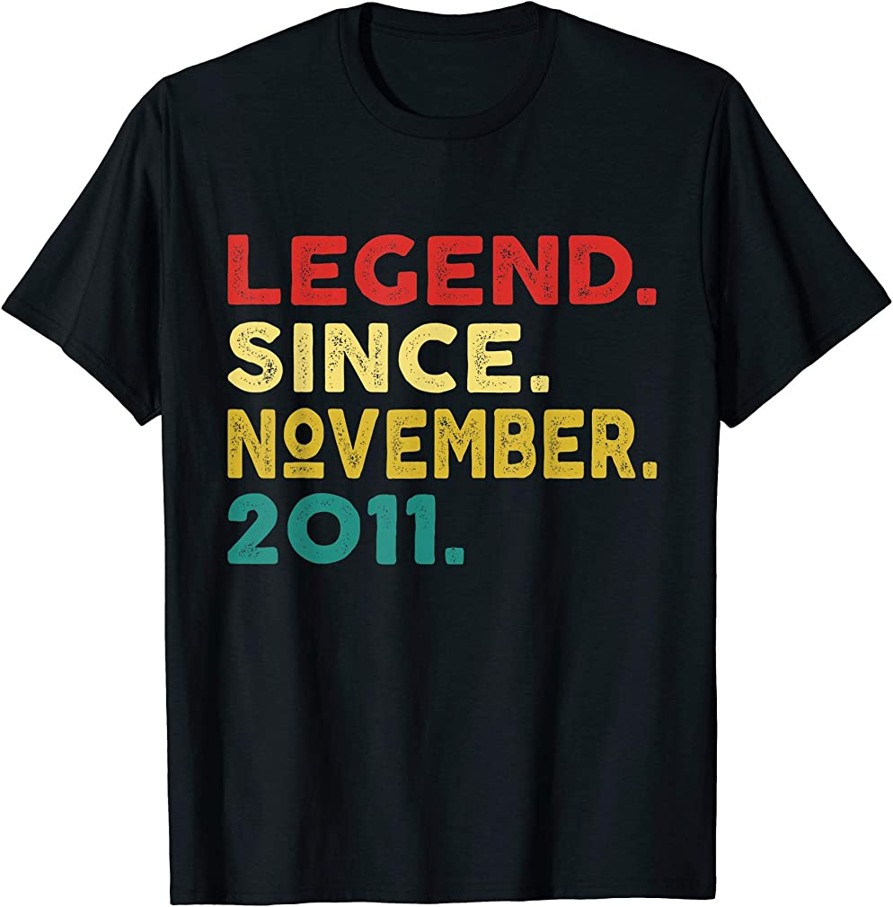 8th Birthday Gifts Legend Since November 2011 8 Years Old T-shirt