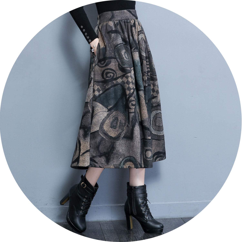 AllAboutUs Maxi Woolen Skirt Women Retro Thick High Waist Long Skirt Faldas Vintage Printing Pleated Wool Skirts Women
