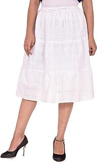 COTTON BREEZE Women's A-line Skirt White