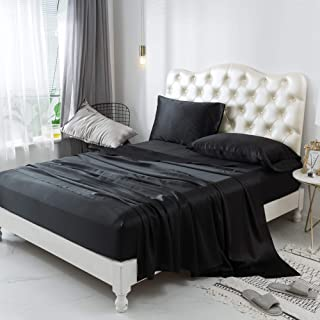 ZIMASILK 4 Pcs 100% Mulberry Silk Bed Sheet Set,All Side 19 Momme Silk (King, Black)