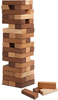 REFINERY AND CO. Wood Block Stacking Game, Includes 54 Pieces, Adds An Elegant, Classic Touch To The Playroom, Builds Hand Eye Coordination In Children, Great For Parties Or Family Gatherings