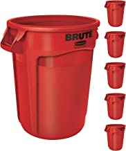 Rubbermaid Commercial Products FG263200RED BRUTE Heavy-Duty Trash/Garbage Can, (Pack of 6)