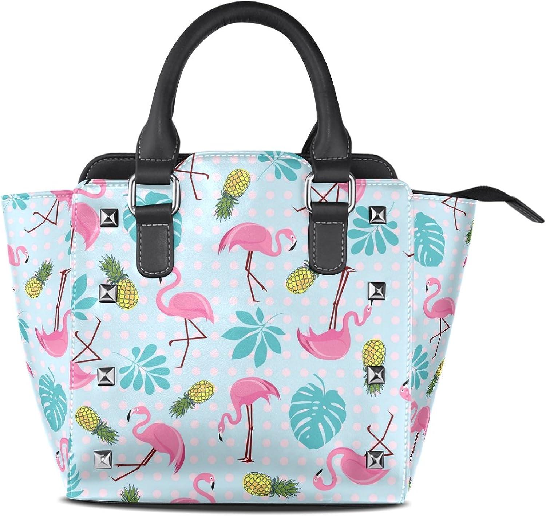 My Little Nest Women's Top Handle Satchel Handbag Pink Flamingos Tropical Palm Leaves Ladies PU Leather Shoulder Bag Crossbody Bag