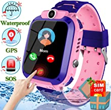 [Free SIM Card] Kids Smart Watch Waterproof GPS Tracker Watch for Kids Ages 3-12 Girls Boys Smartwatch Phone with Two-Way Call Games SOS Alarm Clock Camera Digital Wrist Watch Xmas Holiday Toy Gift