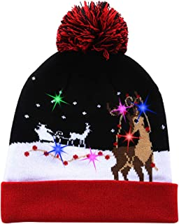 W-plus Ugly LED Christmas Hat Novelty Colorful Light-up Stylish Knitted Sweater Xmas Party Beanie Cap