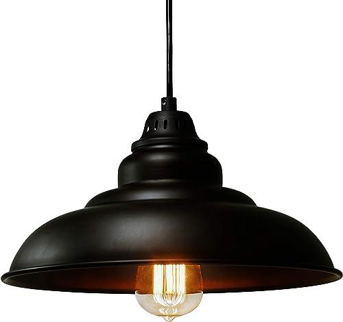 "discount Barn Pendant Lights, FINXIN 1-Light popular Hanging Light for Kitchen Dining Table new arrival Black 12"" Ceiling Dome Pendant Lighting E26 Base (Black) outlet online sale"