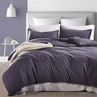 OWMMIZ Bedding Duvet Cover Set, 100% Washed Microfiber Quilt Cover Sets - Comfortable Cover with Pompon Tassels and 2 Pillow Shams, King Size Duvet Cover, Navygray