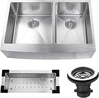 Kitchen Bath Collection Farmhouse 16 Gauge 304 Stainless Steel Double Bowl Apron Kitchen Sink, Includes Stainless Steel Sink Colander and Strainer