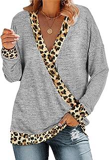 Xmiral Lange Mouw Shirt Vrouwen Diepe V-hals Kleur Blok Luipaard Print Blouse Losse Pullover Tops