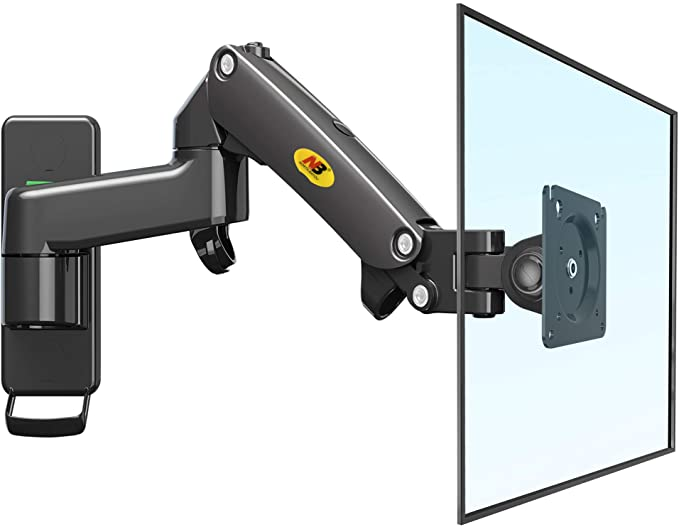 """NB North Bayou TV Monitor Wall Mount Bracket Full Motion Articulating Swivel for 17-27"""" Monitors (Load Capacity from 4.4 to 15.4lbs) Double Extension F150-B"""