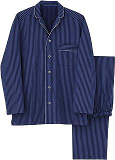 [グンゼ] メンズパジャマ KaiminNavi快眠ナビシルク入り 長袖長パンツ シルク入りフハク