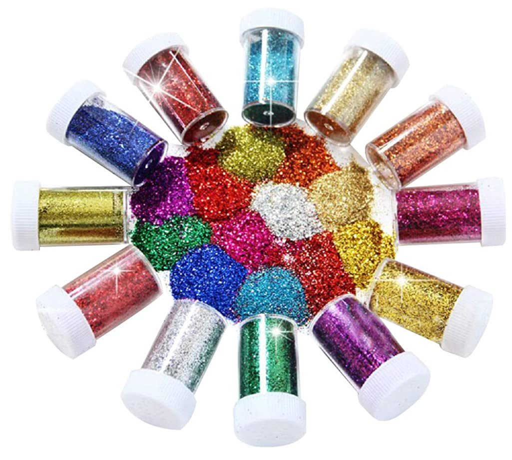 BTSD-home Glitter Powder Shakers, Extra Fine Glitter Set, Art and Crafts Supplies Loose Cosmetic Glitter, Great for Slime, Scrapbooking, Face, Body, Nail Art, Holiday Crafts, Assorted Colors(12 Pack)