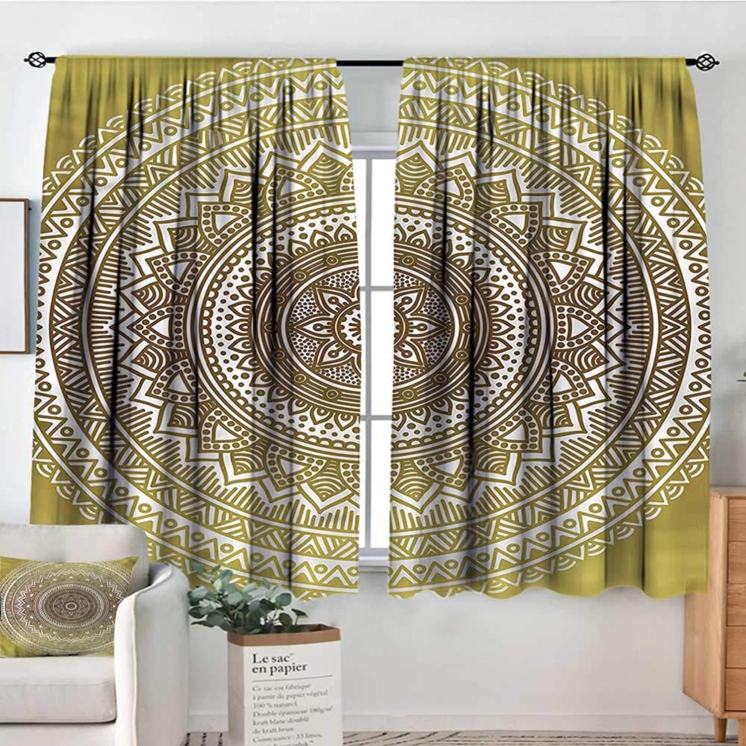 gold,Rod Curtains Ombre Mandala Flower 52 x63  Backout Curtains for Kids Iving Room