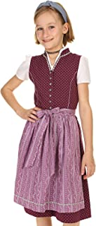 Isar-Trachten Kinder Dirndl hochgeschlossen mit Stehkragen, Dirndl Mädchen Baumwolle 43230 lila