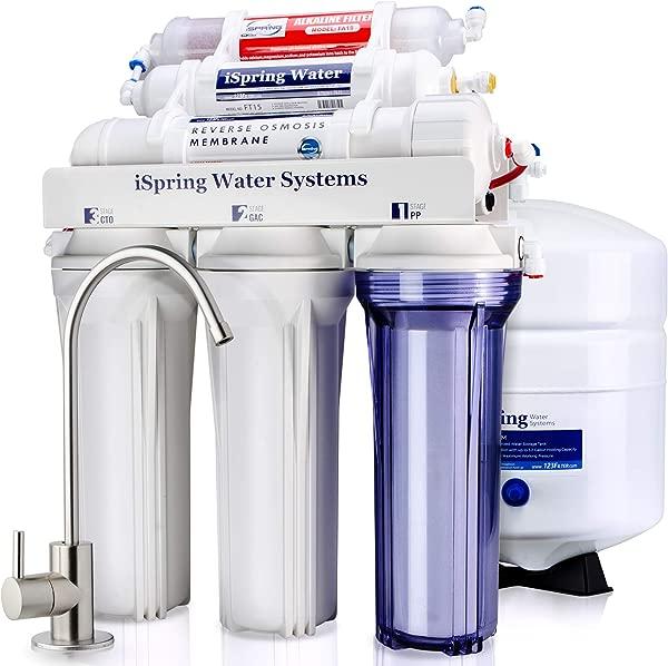 ISpring RCC7AK 6 Stage Superb Taste High Capacity Under Under Sink Reverse Osmosis Drinking Water Filter System With Alkaline Remineralization Natural PH White