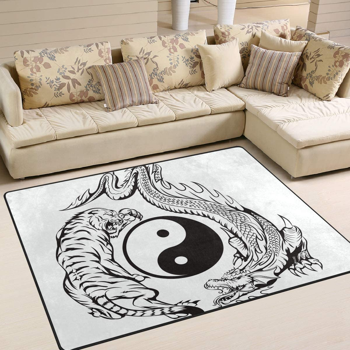 FOLPPLY Chinese Fresno Mall Yin Yang Los Angeles Mall Dragon Fighting Tiger with Area No Rug