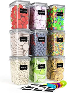 Airtight Food Storage Containers 9 Pieces 1.5qt / 1.6L- Kitchen Pantry Organization Containers, Plastic Canister for Flour...