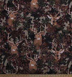 Fleece Deer Camo Camouflage Hunting Wildlife Animals Outdoors Leaves Tan Fleece Fabric Print by the Yard a46307b