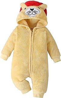 HINK Mameluco y Mono para niñas, recién Nacido, bebés, niños, niñas, Dibujos Animados, Orejas, vellón, Cremallera, Mameluc...