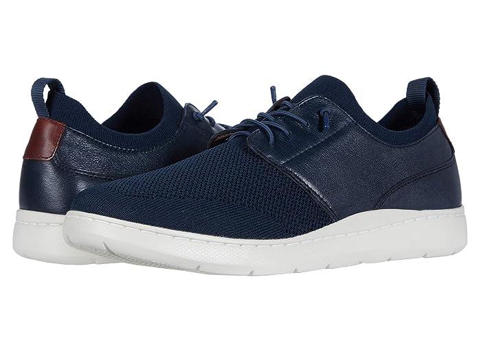 Johnston and Murphy  Farley Plain Toe (Navy Full Grain/Knit Mesh) Mens Shoes