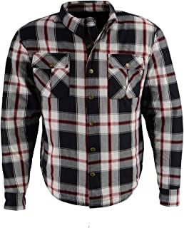 Milwaukee Leather MPM1625 Men's Armored Flannel Shirt with Aramid by DuPont Fibers