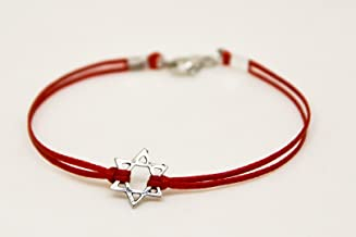 Star of David men's bracelet, silver, gift for him, red bracelet for men, Bar Mitzvah gift, Jewish, Hebrew Jewelry from Israel, judaica