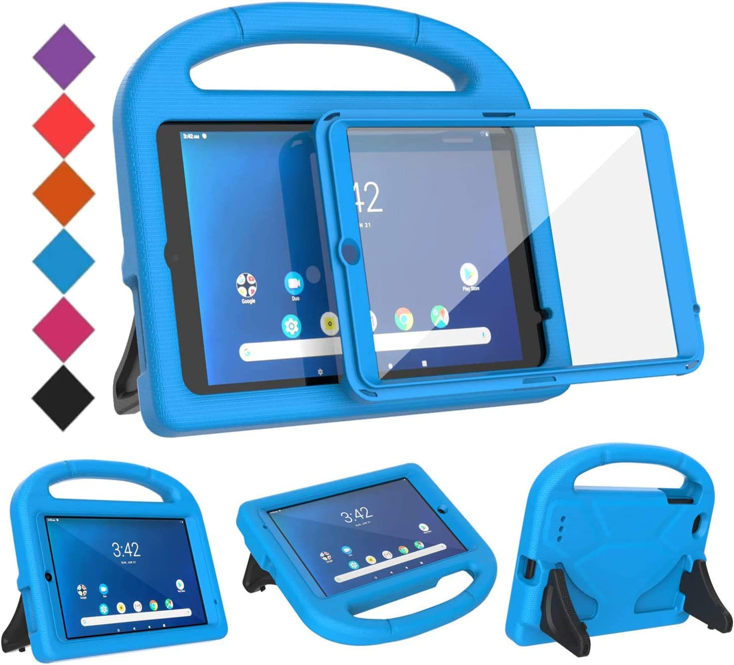 BMOUO Kids Case for Walmart Onn 8 inch Tablet 2019 ONLY (ONA19TB002) , Onn 8 inch Tablet Case Built-in Screen Protector, Shockproof Light Weight Handle Stand Case for Onn 8 inch Tablet 2019- Blue