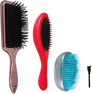 NVTED 3 PCS Hair Brush Combs Set, Massage Detangling Brush Paddle Brush Wet Dry Brush Hair Brushes Air Cushion Bristle with Comb Cleaner