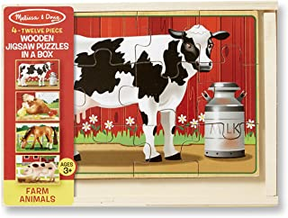 Melissa & Doug Farm Jigsaw Puzzles in a Box (Four Wooden Puzzles, Beautiful Artwork, Sturdy Wooden Storage Box, 48 Pieces, Great Gift for Girls and Boys - Best for 3, 4, 5, and 6 Year Olds)