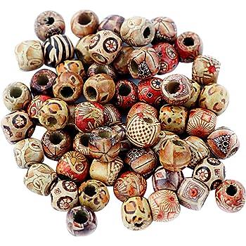 SiAura Material Lot de 10 Perles en Bois avec Trou 2 mm Rose//Noir 22 x 30 mm