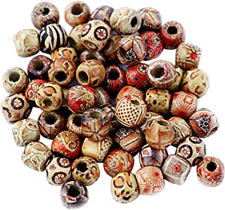 MagiDeal 100 Pieces Vintage Style Wooden Boho Large Hole Beads for Jewelry Making Craft