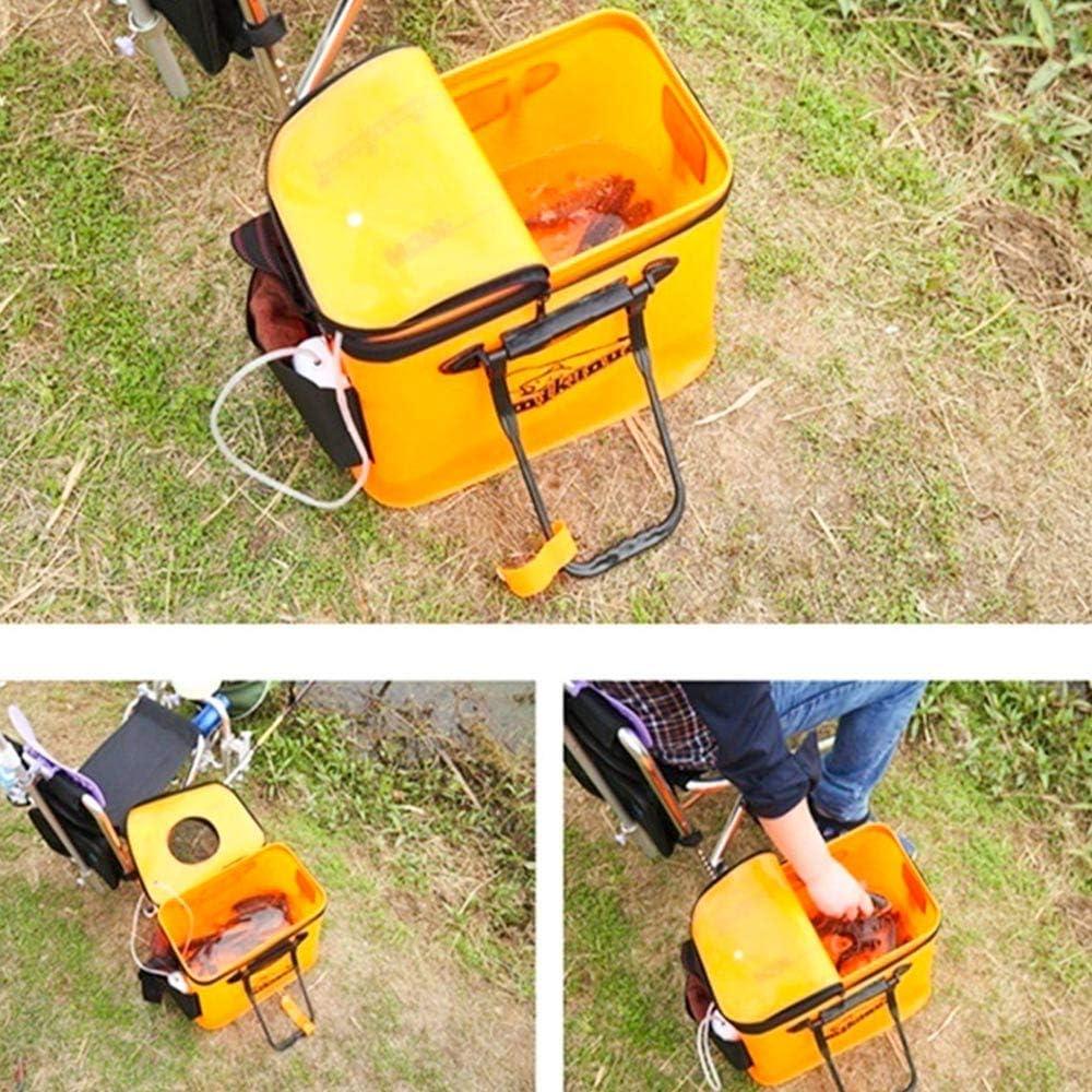 KAIYAN Fishing Bucket Foldable Fishing Bucket Foldable Fishing Bag Foldable Fishing Water Box Waterproof Fish Container Bait Box for Outdoor Travel Camping Hiking EVA Material