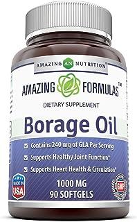 Amazing Formulas Borage Oil Dietary Supplement - 1000mg Capsules -90 SoftGels Per Bottle - 240mg Gamma Linoleic Acid (GLA)...