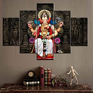 Big Rustic Wall Art Hinduism Religion 5 Piece Canvas Ganesh Cultural Pictures for Living Room Artwork Modern Paintings Home Decor Wooden Framed Gallery-wrapped Stretched Ready to Hang(60''Wx40''H)