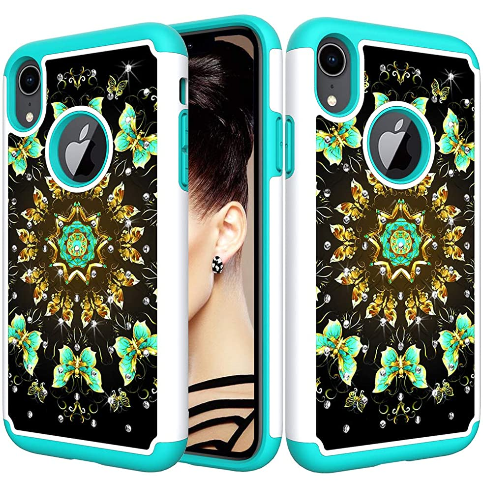 iPhone XR Case, SURBUID Fashion Glitter Diamond Heavy Duty Protection Shock Absorbing High Impact Silicone Rubber Bumper+Hard Plastic Shell Hybrid Dual Layer Armor Protective Case (Butterfly-4)