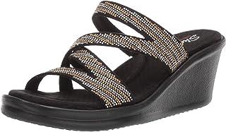 f0450ea1cb2b Skechers Women s Rumblers-Mega Flash-Rhinestone Multi Strap Wedge Slide  Sandal