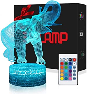 USLINSKY 3D Elephant Gifts Toys Decor LED Night Light with Remote Control, 7 Color RGB Bedside Lamp, Smart Touch Adjustable Brightness Birthday Party Decorations Present for Baby Boys Girls Women Men