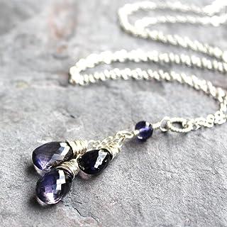 "Iolite Necklace Sterling Silver Blue Teardrop Pendant Gemstone Faceted Cascade 18"" Length"