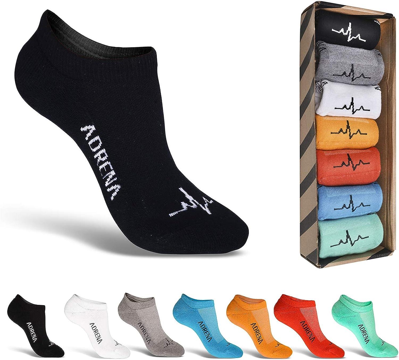 ADRENA No Show Athletic Socks   Men Women Cushioned Liner Socks   7 Pack Gift Box