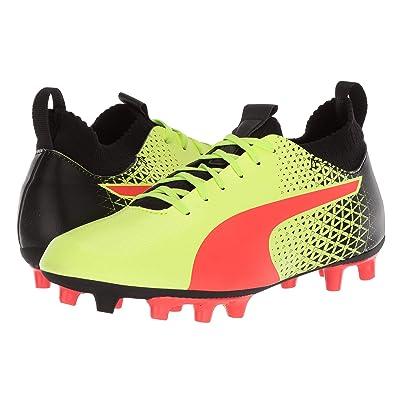 Puma Kids evoKNIT FTB FG Soccer (Little Kid/Big Kid) (Fizzy Yellow/Red Blast/Puma Black) Kids Shoes