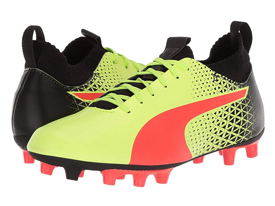Puma Kids evoKNIT FTB FG Soccer (Little Kid/Big Kid) (Fizzy Yellow/Red Blast/Puma Black) Kids Shoes