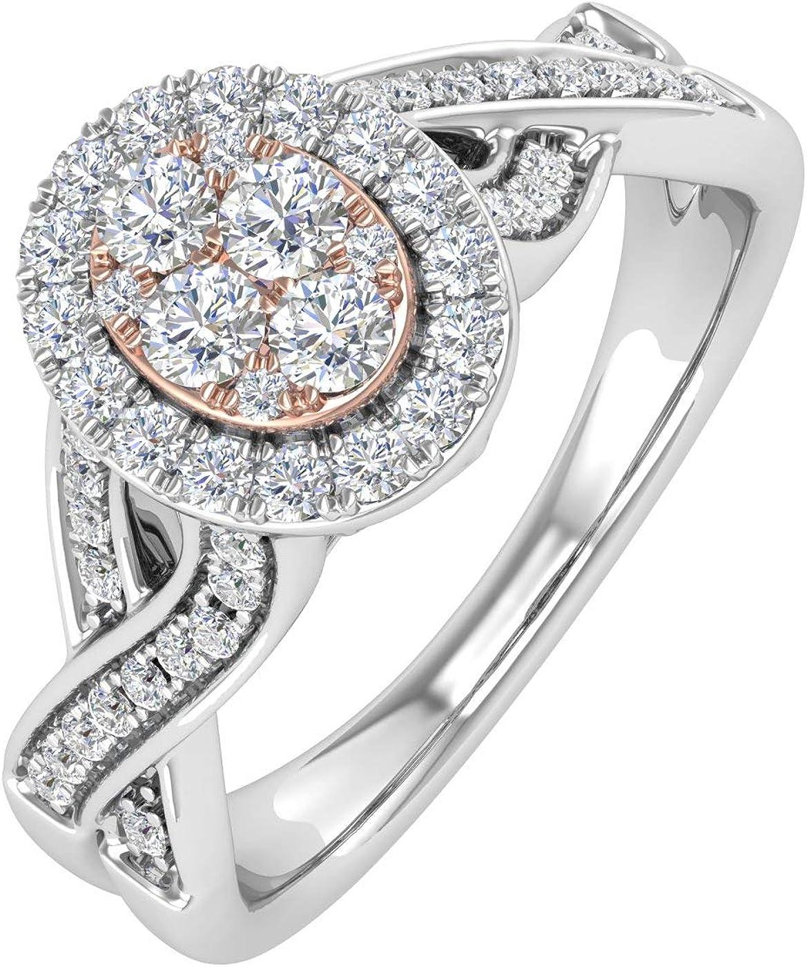 1/2 Carat Diamond Engagement Ring in 10K White Gold & Rose Gold (Ring Size 8.5)