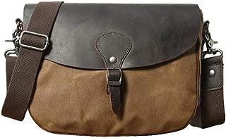 Uarzt Waterproof Canvas Leather Messenger Bag Vintange Satchel Bag Crossbody Bags for Men and Women Unisex,fits Ipad, Kindle,Samsung (Khaki)