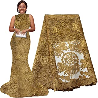 pqdaysun African Lace Fabric 5 Yards 2019 Nigerian Lace Wax Fabric French Lace Fabric for Wedding Party F50614 (5 Yards, Gold)
